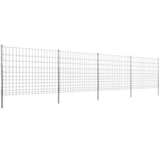vidaXL Step-In Fence 164' with Posts Galvanized Wire 59/12/5.9