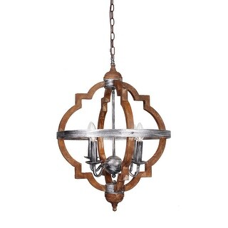 Antique Distressed Wood 4-Light Hall Foyer Chandelier