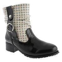 Beacon Shoes Women's Drizzle Black Plaid Polyurethane