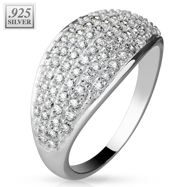Micro CZ Pave Dome .925 Sterling Silver with Authentic Rodium Finish Ring (Sold Ind.)