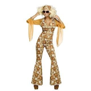 Womens Disco Diva Orange Jumpsuit Costume