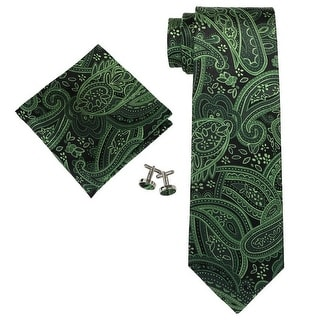 Men's Holiday Green Paisley 100% Silk Neck Tie Set Neck tie+Hanky+Cufflinks
