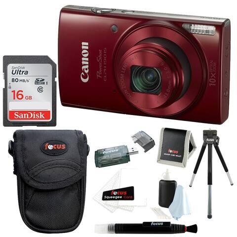 Canon PowerShot ELPH 180 Digital Camera (Red) w/ 16GB Accessory Bundle