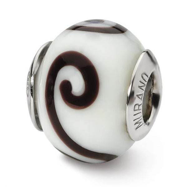 Italian Sterling Silver Reflections White/Brown Bead (4mm Diameter Hole)