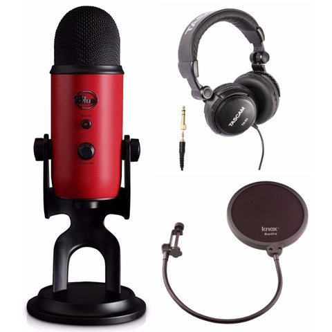 Blue Microphones Yeti USB Red Microphone with Headphones and Knox Pop Filter