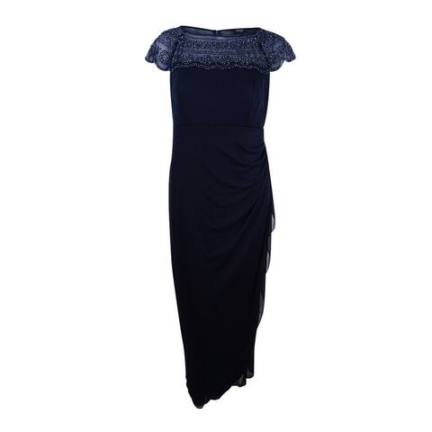 MSK Women's Plus Size Embellished Ruched Cascade Gown