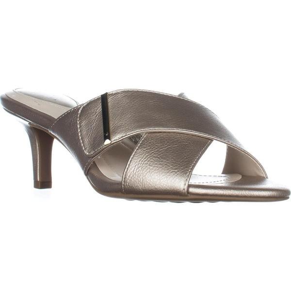 A35 Step N Flex Larrk Kitten-Heel Slip-On Sandals, Platino