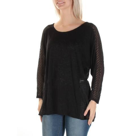 ALFANI Womens Black Sheer 3/4 Sleeve Jewel Neck Tunic Top Size M