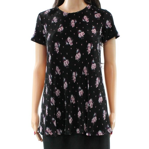 557d3355bac9a8 Shop Love Fire NEW Black Size Medium M Junior Floral Ribbed Tunic ...