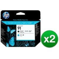 HP 91 Matte Black & Cyan DesignJet Printhead (C9460A) (2-Pack)