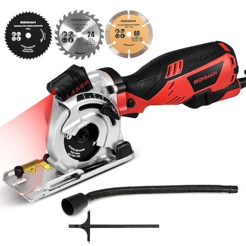 Electric Mini Laser Circular Saw Hand Held Grinder Cutting Tool Kit w/ 3 Blades - as pic