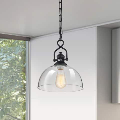 Black 1-Light Dome Shaped Clear Glass Mini Pendant