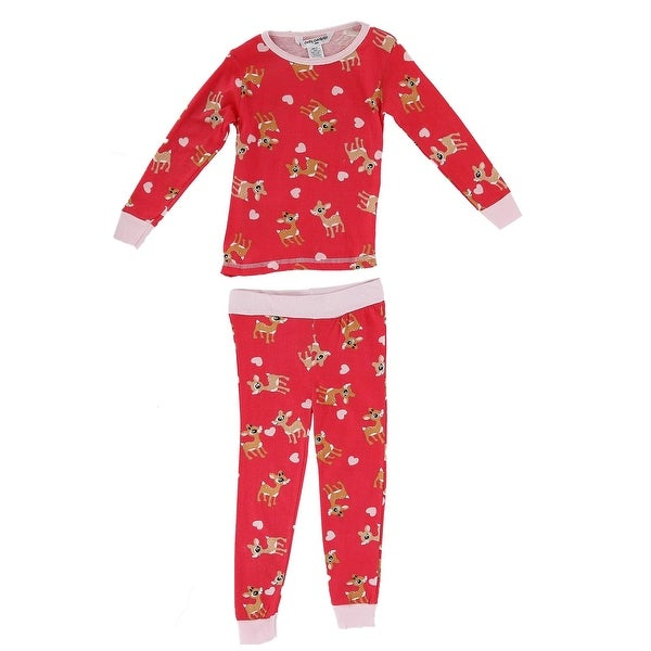 Cozy Couture Baby Toddler Reindeer and Hearts 2 Piece Pajama Set