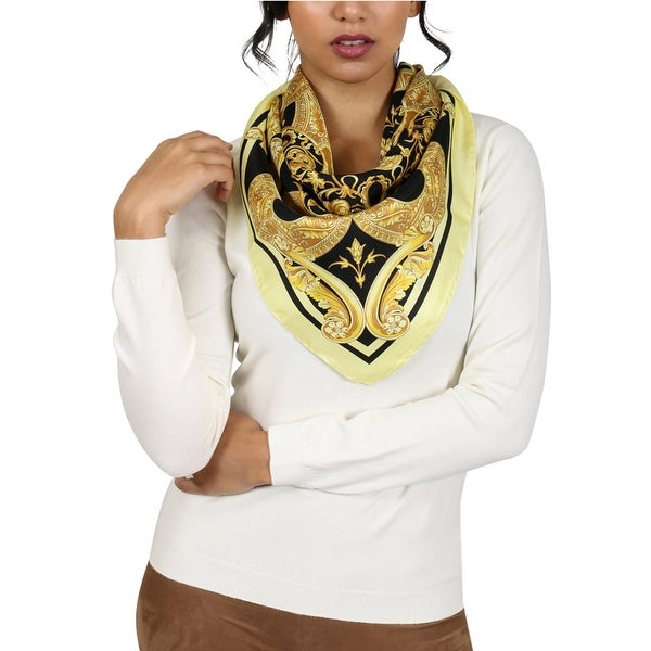 Versace Black/Gold Barroco Medusa Print Silk Foulard Scarf - 34-34