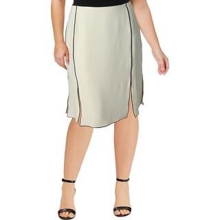 Lauren Ralph Lauren Womens Plus A-Line Skirt Contrast Trim Slit - 18W