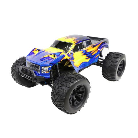 ALEKO Off-Road 4WD Electric 1:12 Scale RC Monster Truck Blue/Yellow Flame Design - 18.6 x 12.7 x 7.5 inches