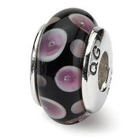 Sterling Silver Reflections Purple/Black Hand-blown Glass Bead (4mm Diameter Hole)