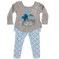 Ziggles Wiggles Baby Girls Gray Hearts Bow Long Sleeve 2 Pcs Outfit Set 12-24M
