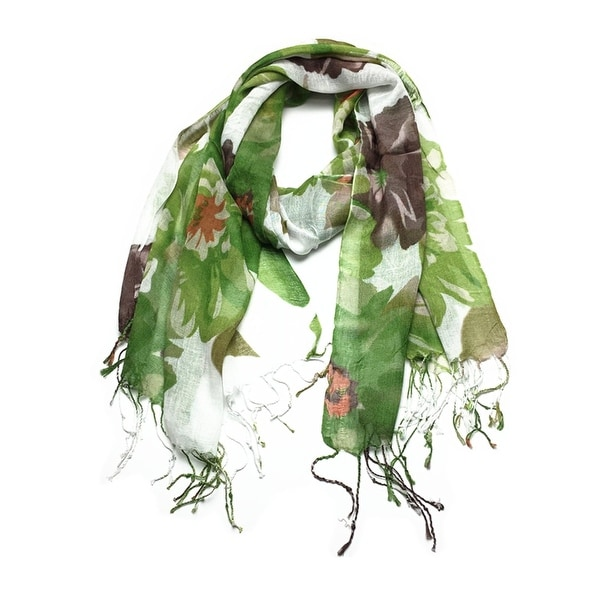Women's Fashion Floral Soft Wraps Scarves - F2 Green. Opens flyout.