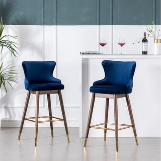 Link to Leland Fabric Upholstered Wingback Bar Stools (Set of 2) Similar Items in Dining Room & Bar Furniture