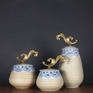 G Home Collection Luxury Handcrafted Blue Cloud Pattern Beige Accent Porcelain Jar With Copper Lid