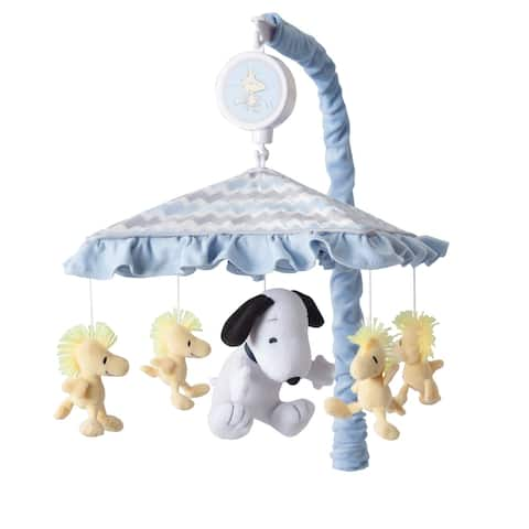 Lambs & Ivy My Little Snoopy and Woodstock Blue/Gray/White Chevron Musical Baby Crib Mobile