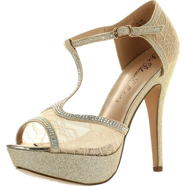 De Blossom Womens Vice-121 Bridesmaid Prom Party Fashion Pumps Shoes - Nude