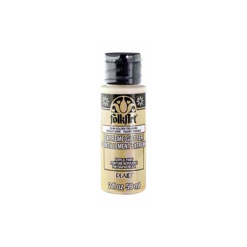 Plaid Folkart Extreme Glitter 2oz Golden Treasure - White