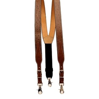 Nocona Western Suspender Men Leather Ostrich Print Adjust Tan