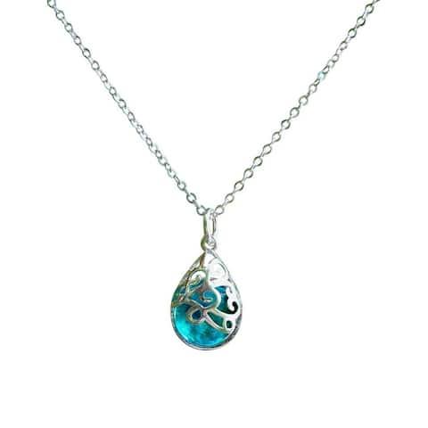 Recycled Vintage Aqua Mason Jar and Sterling Silver Filigree Teardrop Necklace - Blue