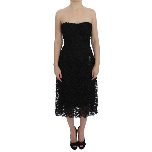 39bbc7a7 ... Women's Designer Clothing; /; Dresses. Dolce & Gabbana Black Floral  Lace Shift Midi A-Line Women'