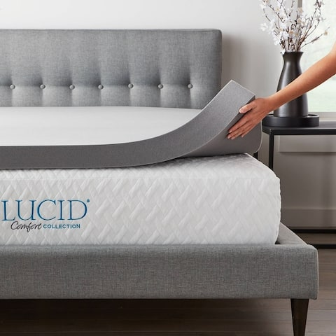 Lucid Comfort Collection Bamboo Charcoal Memory Foam Topper - Gray