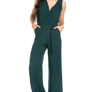 Surplice Wide Leg Green Jumpsuit