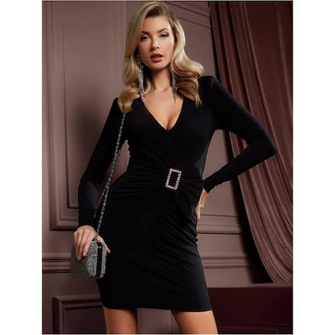 MARCIANO Black Long Sleeve Above The Knee Dress M