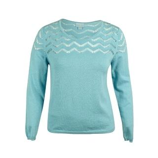 CeCe Women's Long  Sleeve Pointelle Knit Sweater - xL