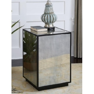 "25"" Black Retro-Styled Antique Mirrored Square Side Table"