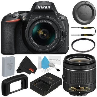 Nikon D5600 DSLR Camera with 18-55mm VR AF-P Lens (Black) 1576 (International Model) + Deluxe Cleaning Kit + Cloth Bundle