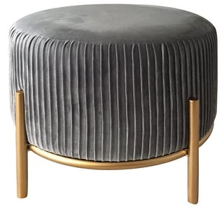 Link to Lexi Velvet Stool in Grey Similar Items in Ottomans & Storage Ottomans