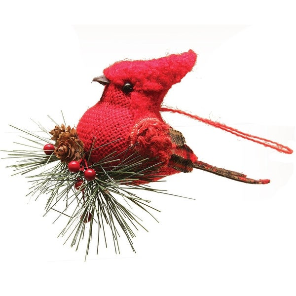 """4.75"""" Burlap and Plaid Cardinal on Pine Sprig Christmas Ornament - RED"""