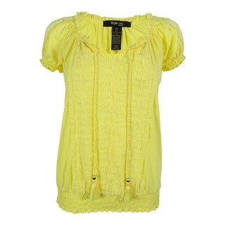Style & Co. Women's Lace Inset Keyhole Peasant Top