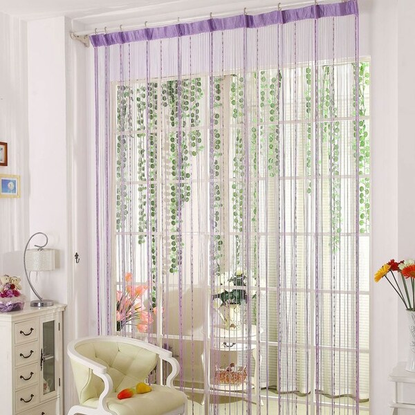 Beau Drop Beaded Chain String Curtain Voile Net Panels For Room Divider