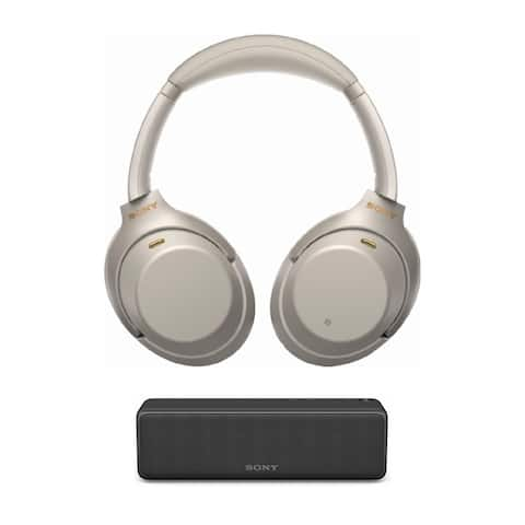 Sony WH-1000XM3 Wireless Noise-Canceling (Silver) w/ Bluetooth Speaker