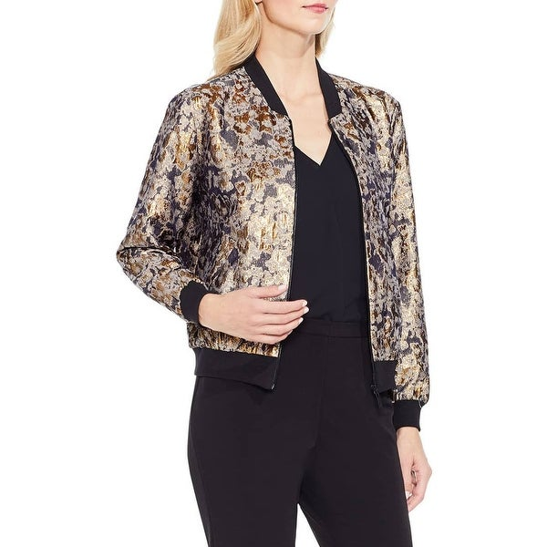 Vince Camuto Black Womens Size Small S Gold Foil Bomber Jacket
