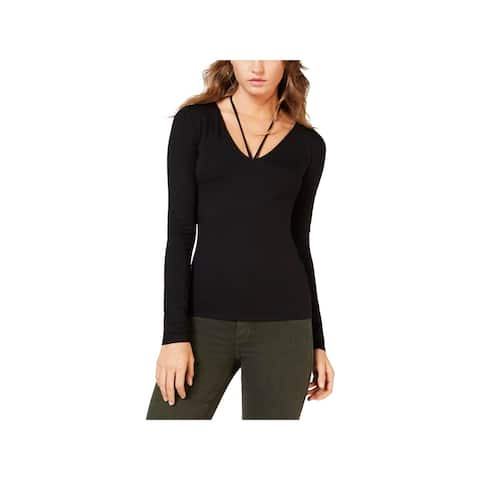 Guess Womens Pearl Pullover Top Solid Long Sleeves