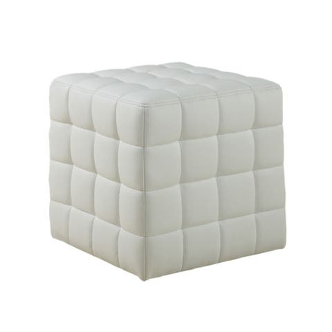 Offex White Leather-Look Upholstery Ottoman