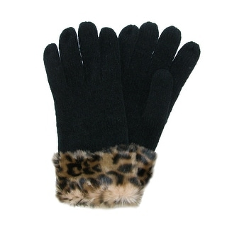 Scala Women's Chenille Gloves with Animal Print Cuff - One Size