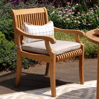 Chara Outdoor Teak Wood Dining Chair with Cushion by Havenside Home