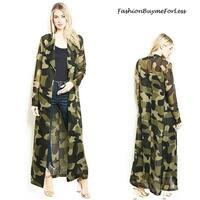 BOHO Faux Silk Olive Camouflage Kimono Open Front Maxi Duster Cardigan