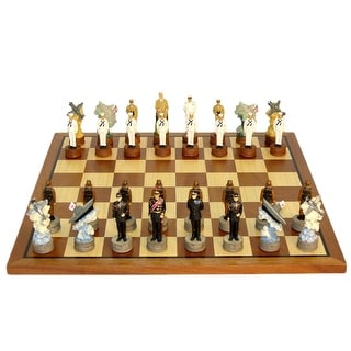 Pearl Harbor Painted Resin Chess Set - Multicolored