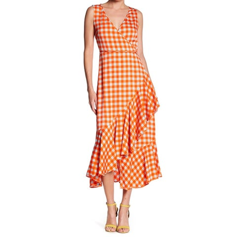 Diane von Furstenberg Orange Blue Women 8 Silk Ruffled Wrap Dress